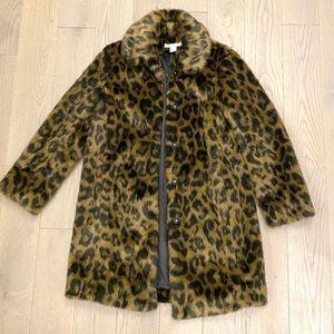 H&M Leopard Faux Fur Midi Jacket